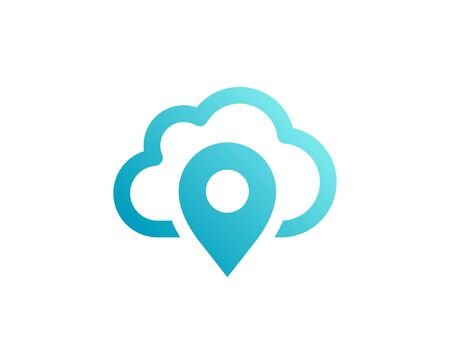 Geotag with cloud or location pin icon design