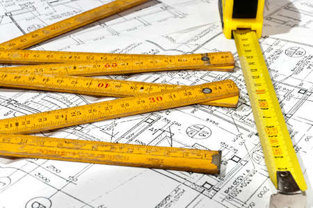 measuring tape end construction drawings Stock Photo - 10319890