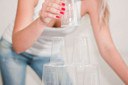 a pyramid of plastic cups Stock Photo - 10330618