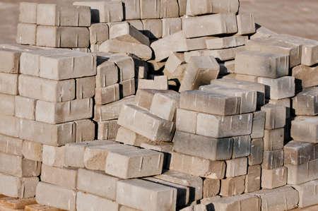 concrete blocks for the new pavement