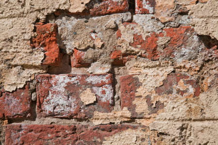 plastered brick wall background old Stock Photo