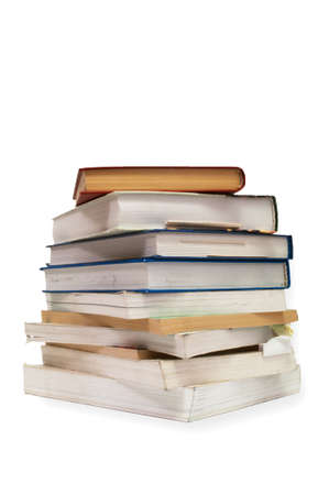 a stack of old textbooks Stock Photo
