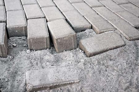 paving of sidewalk paving new Stock Photo