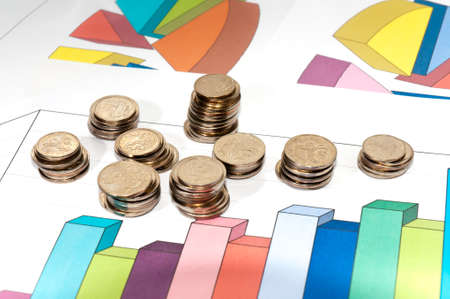 small coins and schedule growth Stock Photo