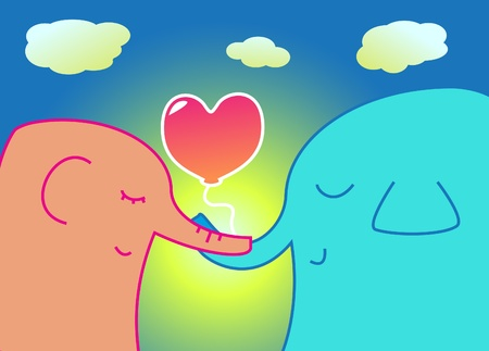 Two elephants holding a heart-shaped balloon Vector