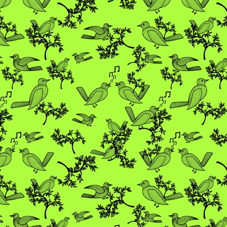Natural seamless pattern with olive tree branches and birds