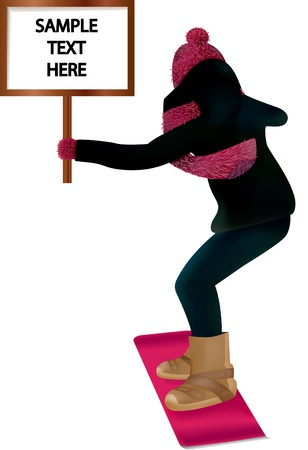 Girl on pink snowboard with a text sign