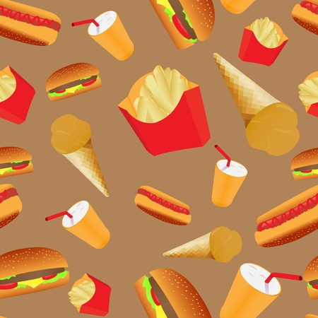 Fastfood cafe seamless pattern Vector