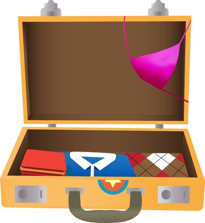 Old travel suitcase filled with clothes isolated Vector