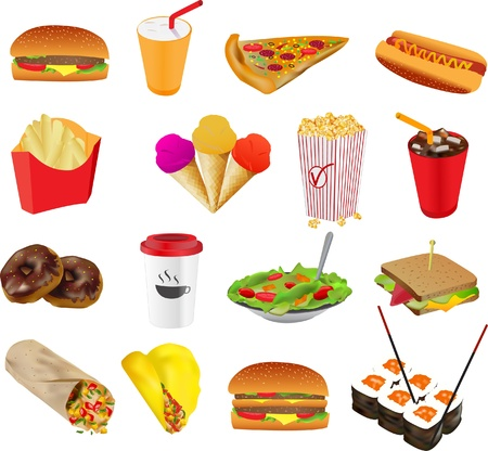 Fastfood cafe colourful icons set