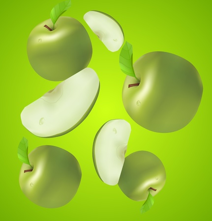 juicy apples with sections Illustration