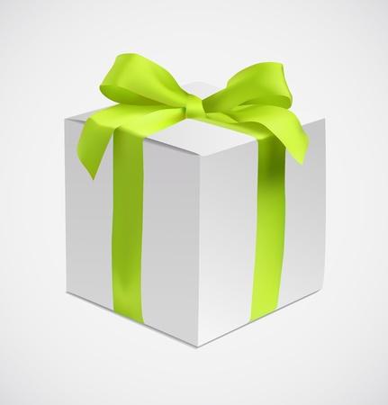 Gift box with green silk ribbon