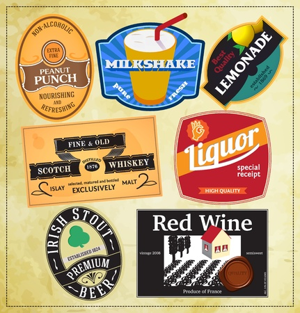 Vintage label templates for beverages Vector