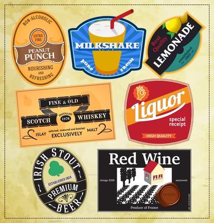 Vintage label templates for beverages Illustration