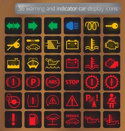 bobina: Indicadoras y de advertencia iconos de la pantalla de automóviles establecidos Vectores
