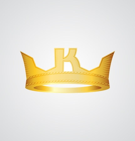 Gold crown with letter K in the front Illustration