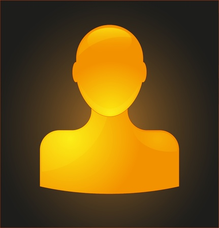 Orange glossy user icon Vector