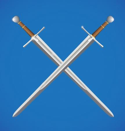 knights templar: Two swords crossed Illustration