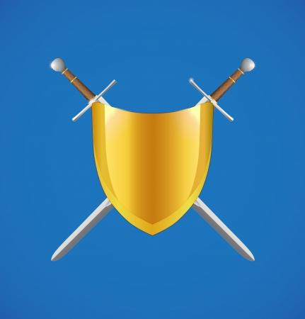 crossed swords: Escudo y espadas cruzadas