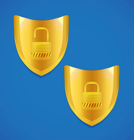 forbidden to pass: shield and lock icon