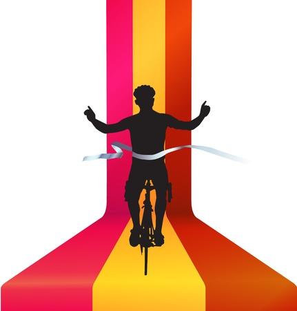 sobresalir: Ciclista en bicicleta acabado la carrera - concepto ganador Vectores