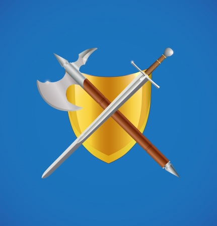 Shield, sword and axe crossed