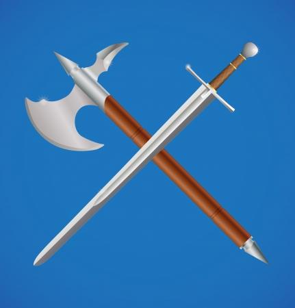 espadas medievales: Espada y el hacha cruzada