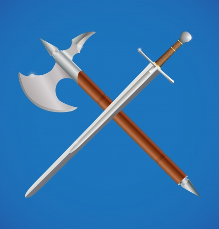 sword fight: Sword and axe crossed