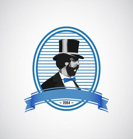 로고 템플릿 - 빈티지 남자 그림