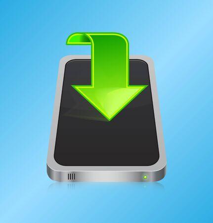 Smartphone with green arrow - download concept Stock Vector - 14382605