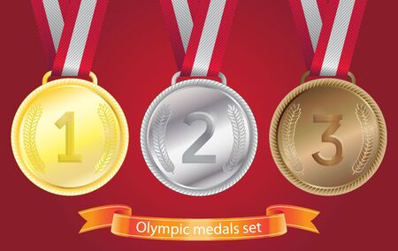 sports competition medals set - gold, silver, bronze Stock Vector - 14382610