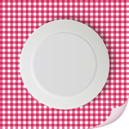Vector plate on tablecloth Illustration