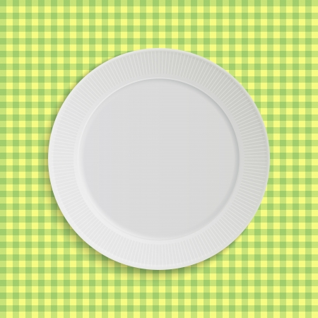 checker plate: plate on pink square tablecloth
