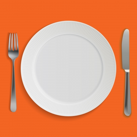 white plate: Dinner plate, knife and fork.