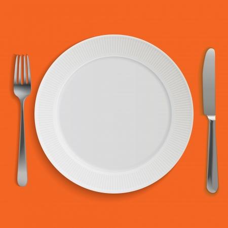 silverware: Placa de cena, cuchillo y tenedor.