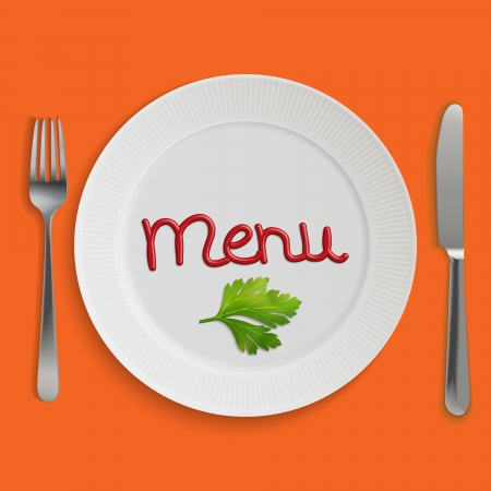 Menu card with plate, fork and knife Stock Vector - 15635953