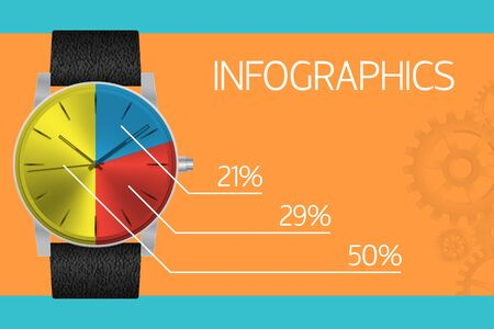 Infographics template - vintage watch Vector