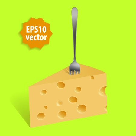 Piece of cheese and a fork Illustration