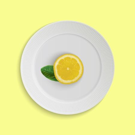 Fresh lemon on plate Illustration