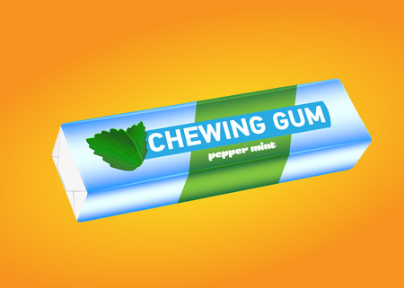 Pack of chewing gum with pepper mint flavor