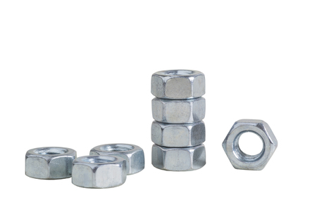 fasteners: set of chrome metallic nuts  fasteners  screed  tool Stock Photo