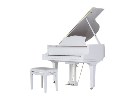a grand piano: white grand piano on a white background  play music Stock Photo