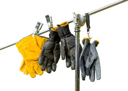 industrial safety: рrofessional yellow suede gloves to protect the hands and Safety