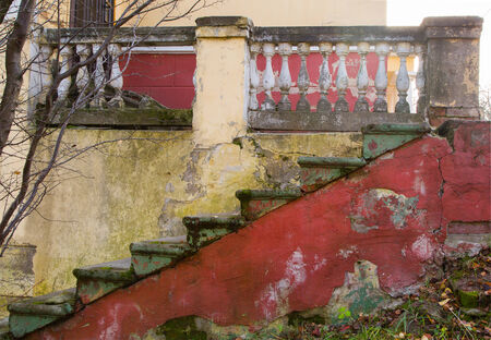 nineteenth: old staircase made of cement in the middle of the nineteenth century, fragment, vintage Stock Photo