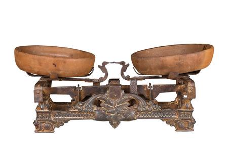 palanca: escalas de antig�edades con las tazas, metal, tipo palanca Foto de archivo