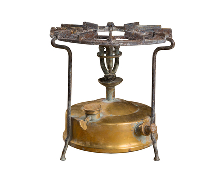 old kerosene primus, brass burner, photo on the white background