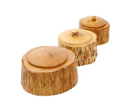 self made: set of wooden boxes made of Karelian birch Stock Photo