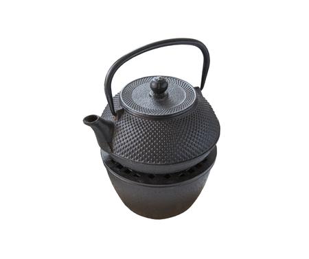 tetsubin: black metal drinking tea kettle