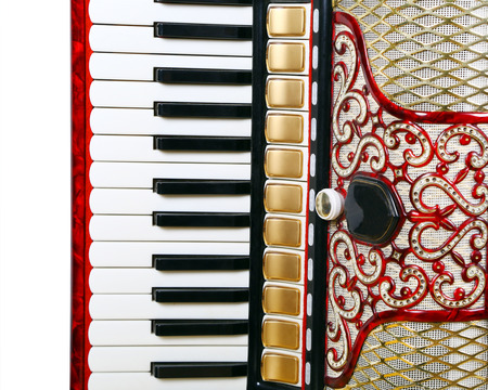 accordion: fragment, musical instrument red accordion, outdated device