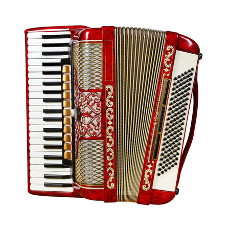 front view: musical instrument red accordion, front view, outdated device